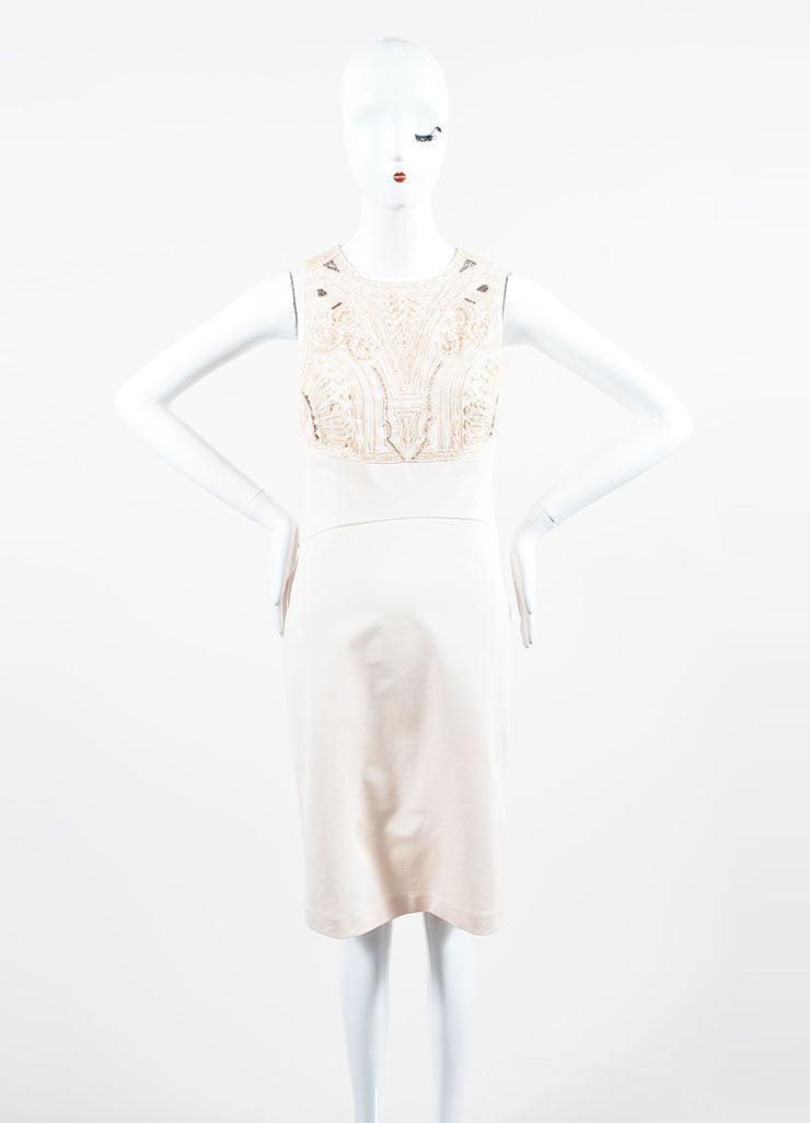 Blush Pink Roberto Cavalli Embellished Bodice Sleeveless Dress Frontview