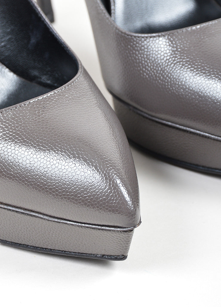 "Saint Laurent ""Road Gray"" Leather Point Platform ""Janis"" Pumps Detail"