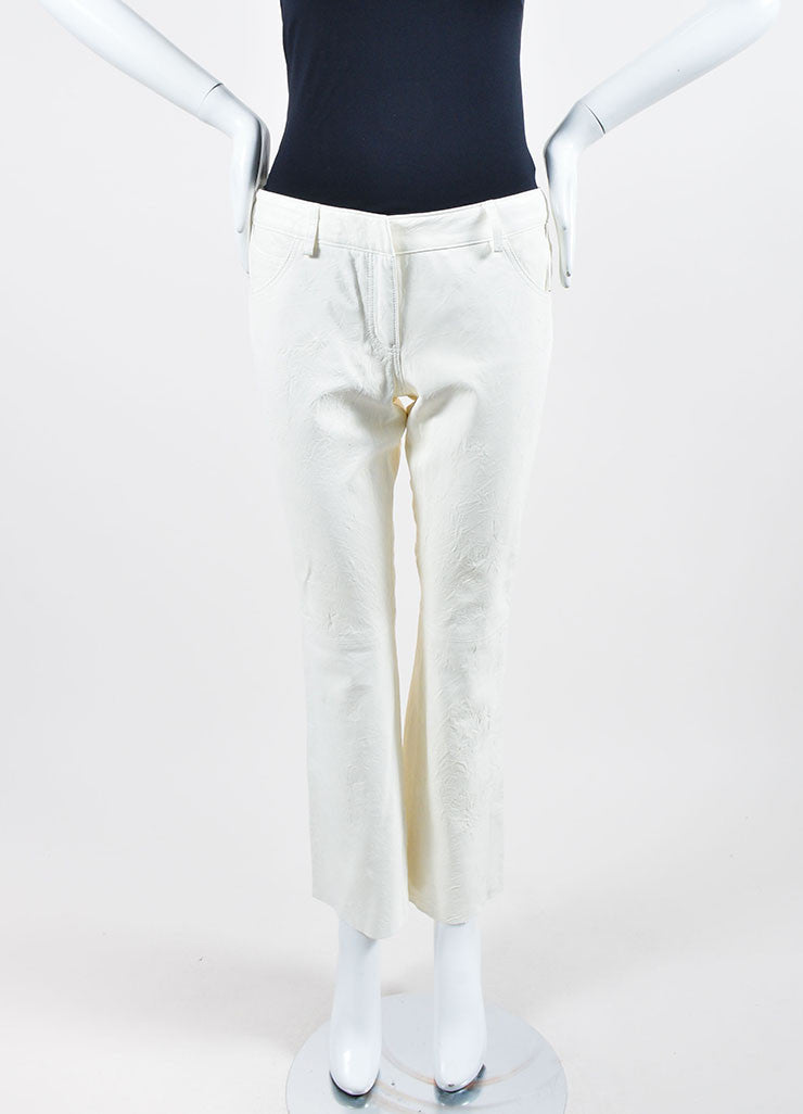 The Row White Lambskin Leather Straight Leg Pants Frontview