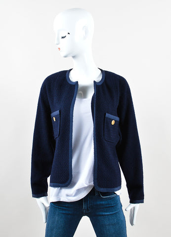 Navy Wool Collarless Open Front Jacket