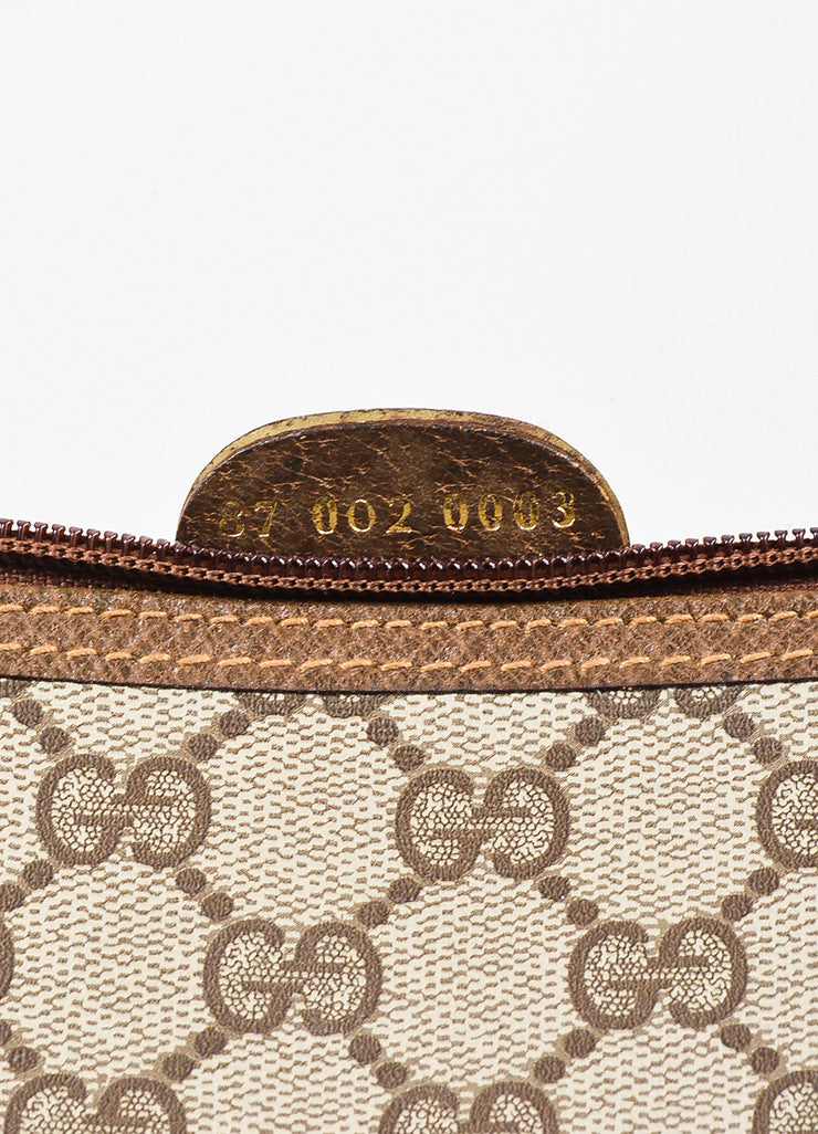 Gucci Beige and Brown Coated Canvas Leather Monogram Travel Tote Bag Serial