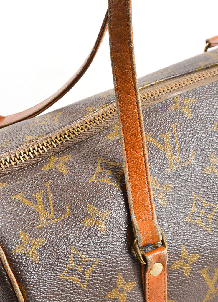 "Louis Vuitton Brown Coated Canvas and Leather Monogram ""Papillon 30"" Bag Detail 3"