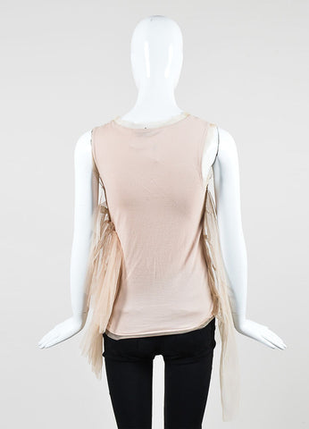 Beige and Pale Pink Valentino T-Shirt Couture Tulle Overlay Embellished Sleeveless Top Backview