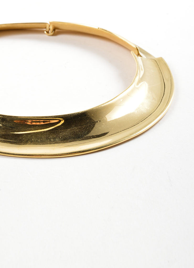 Napier Gold Toned Shiny Plate Collar Choker Necklace Detail 2