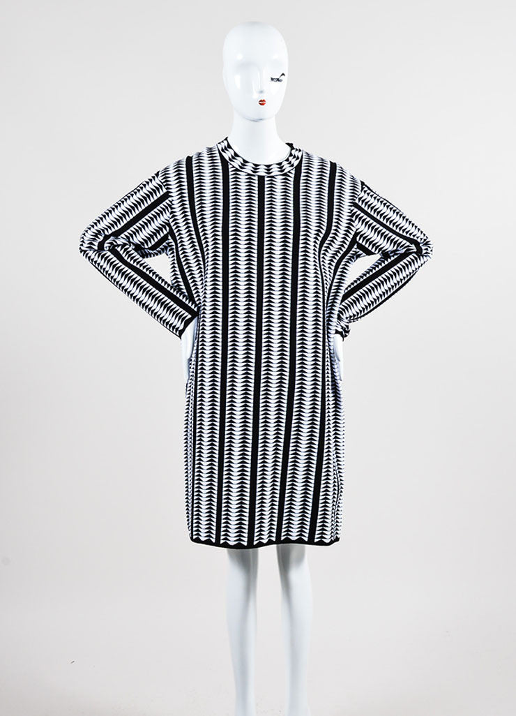 Black and White Alaia Wool Blend Stretch Knit Geometric Print Dress Frontview
