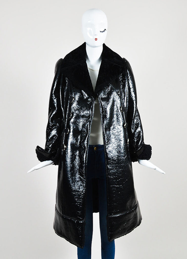 Black Alexander McQueen Cracked Patent Shearling Lined Coat  Frontview