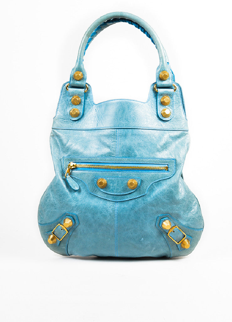 "Balenciaga Light Blue Leather Gold Toned Hardware ""Giant 21 Slim Hobo"" Handbag Frontview"