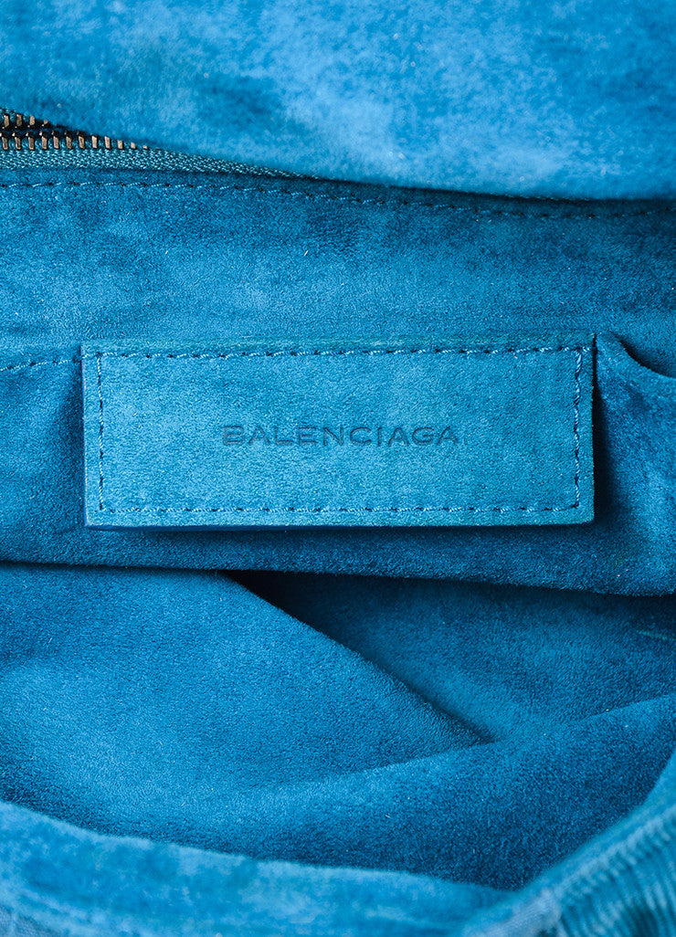 "Teal Blue Balenciaga Corduroy Knit Contrast ""Matrix"" Shoulder Hobo Bag Brand"