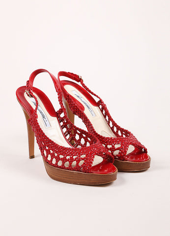 Brian Atwood Red Patent Leather Woven Cut Out Platform Slingback Sandals Frontview