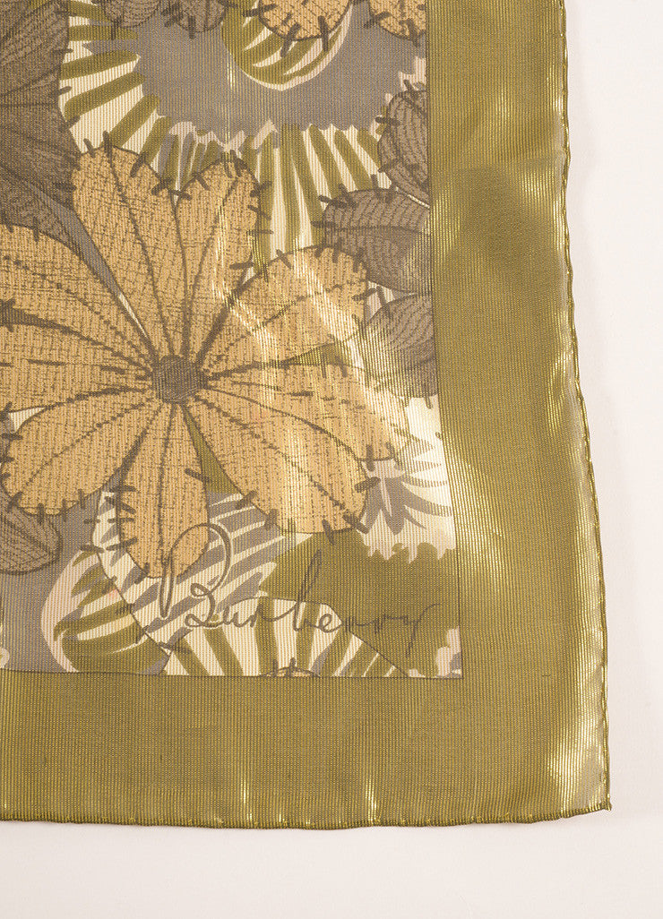 Burberry Gold Metallic Sheer Floral Scarf Brand