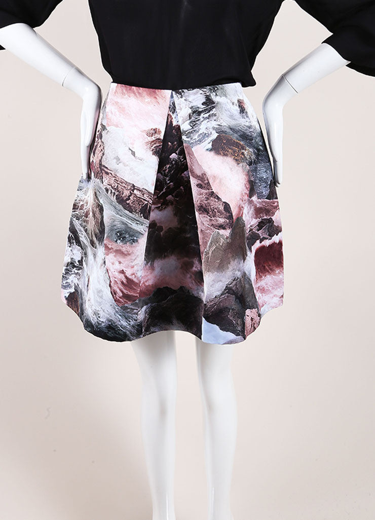Carven New With Tags Multicolor Abstract Print Pleated Satin A-Line Skirt Frontview