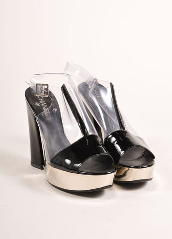 Chanel Black Patent Leather, Clear, and Silver Platform Sandals Frontview