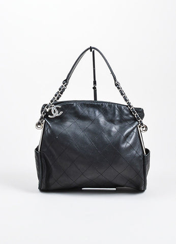 Chanel Black Quilted Leather Fold Over Chain Strap Shoulder Bag Frontview
