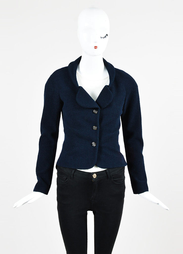Chanel Navy Blue Wool and Silk Rhinestone Embellished Three Button Jacket Frontview 2