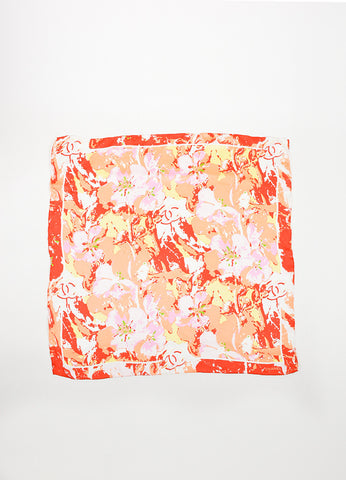 Pink, Coral, and Red Chanel Abstract Floral Small Square Scarf Frontview 2