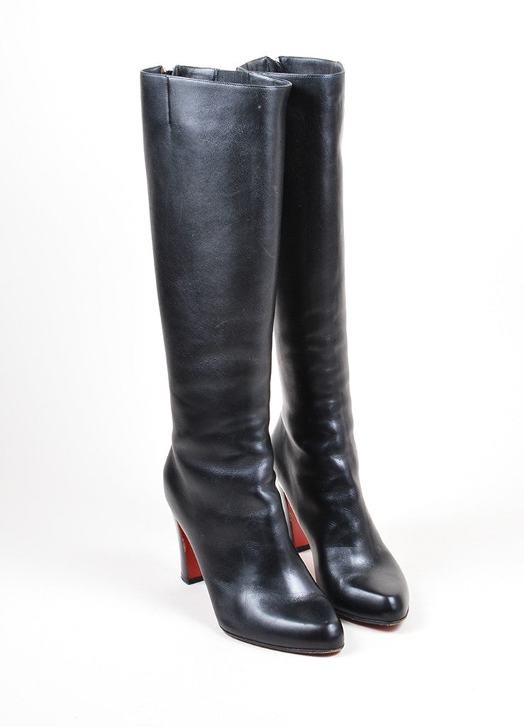 "Christian Louboutin ""Miss Tack Botta"" Black Leather Knee High Heel Boots Frontview"