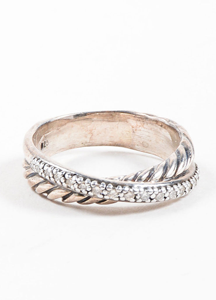 David Yurman Sterling Silver and Pave Diamond Crossover Cable Ring Frontview