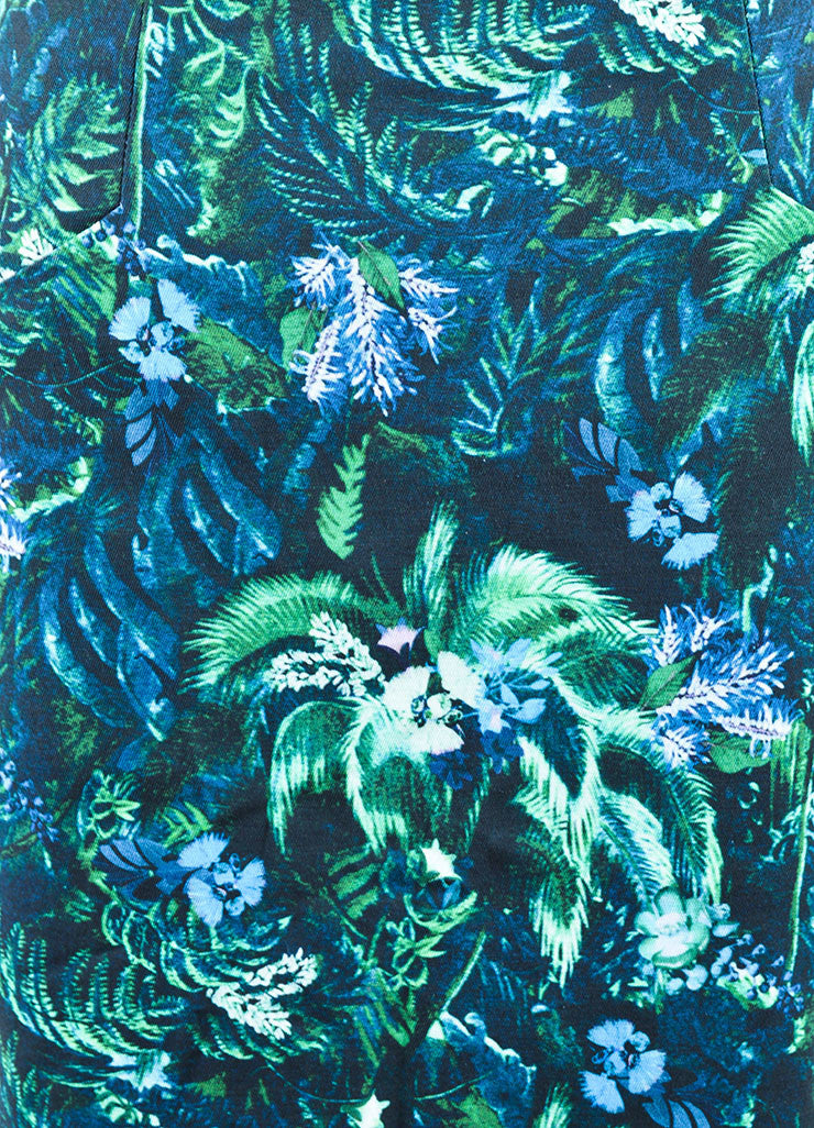 Erdem Green and Blue Tropical Floral Print Pencil Skirt Detail
