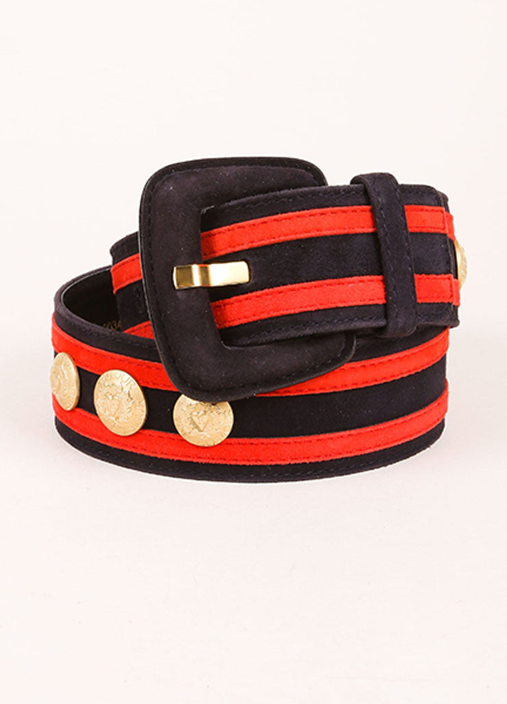 Escada Navy, Red, and Gold Toned Suede Striped Button Studded Wide Belt Frontview