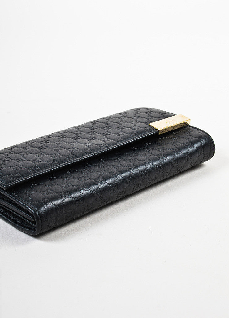 Gucci Black Microguccissima Leather Chain Strap Wallet Detail