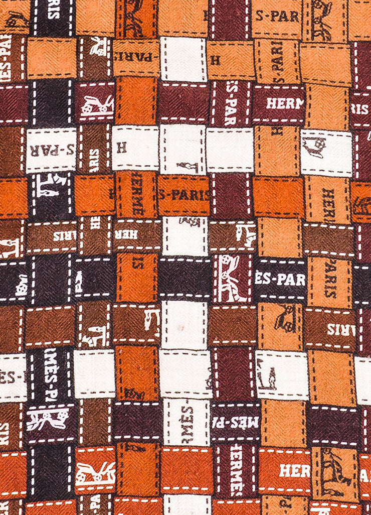 "Brown and White Hermes Patchwork Logo Print ""Bolduc au Carre"" Square Shawl Scarf Detail 2"