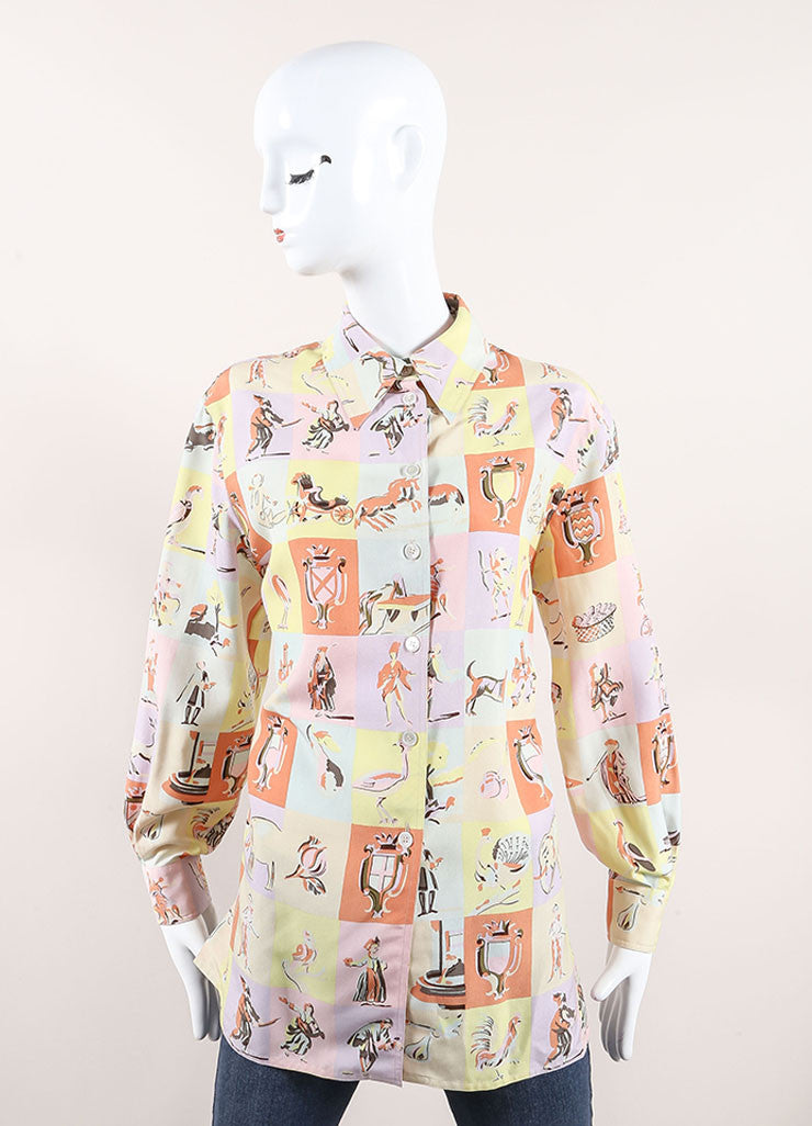 Hermes Pastel Multicolor Silk Checker Figure Print Long Sleeve Blouse Frontview