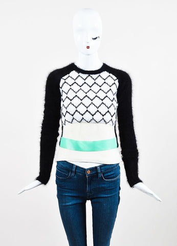 JW Anderson Black, White, and Green Belted Zig Zag Long Sleeve Sweater Frontview