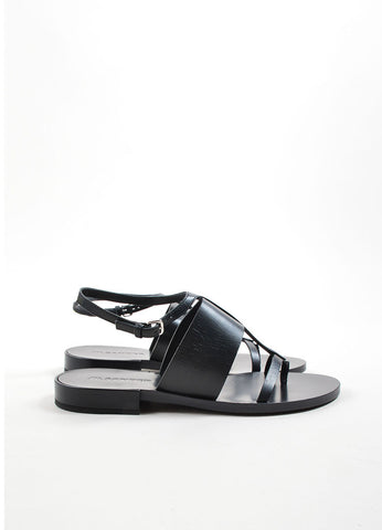 Black Jil Sander Leather Ankle Strap Thong Flat Sandals Side