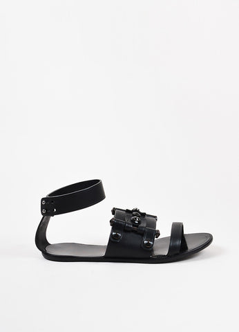 Lanvin Black Studded Leather Open Toe Ankle Strap Flat Sandals Side