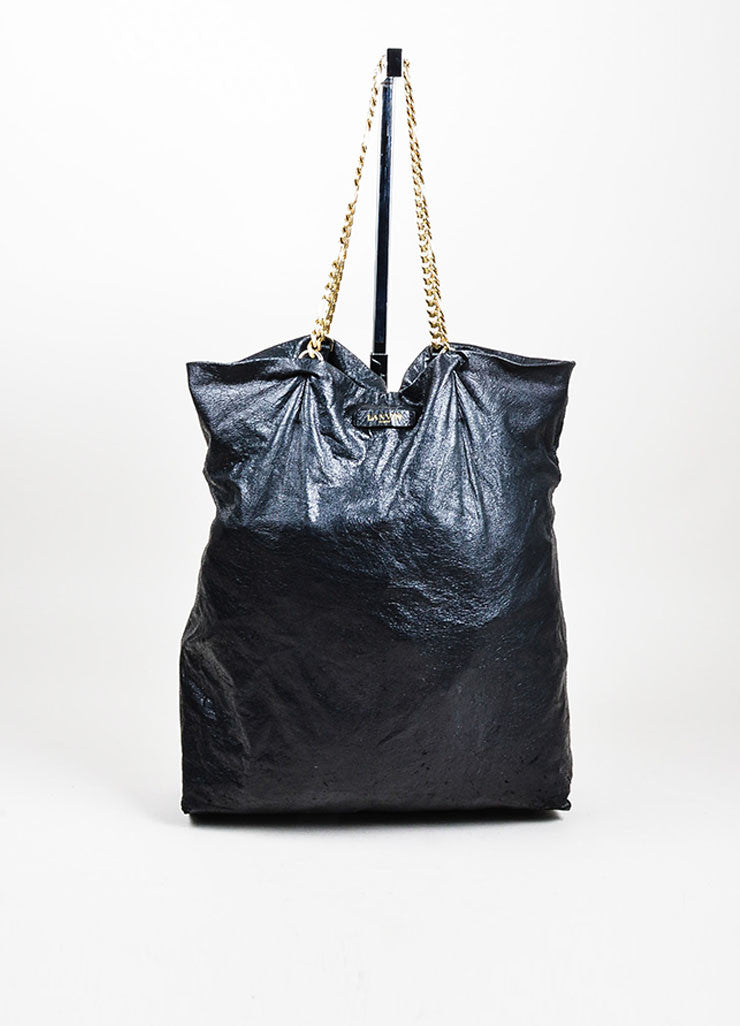 "Black Lanvin Lambskin Leather Chain ""Paper Bag"" Tote Front"