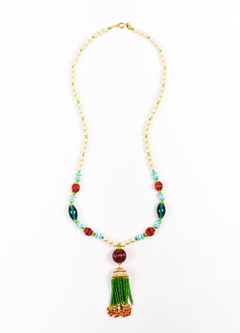 Lawrence VRBA Green, Red, and Teal Faux Pearl Tassel Pendant Necklace Frontview