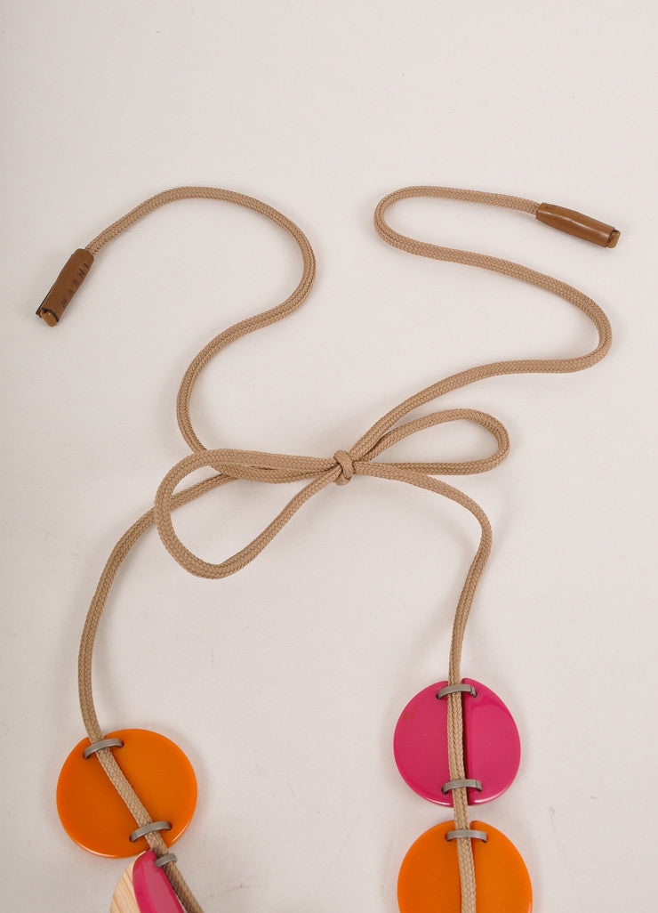 Marni Pink and Orange Wood and Plastic Cord Necklace Closure