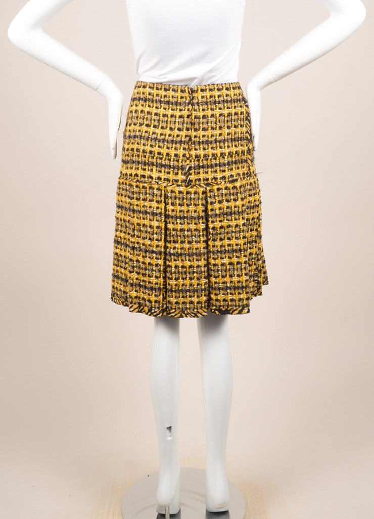 Oscar de la Renta Yellow and Black Wool and Cotton Tweed Pleated Short Skirt Backview