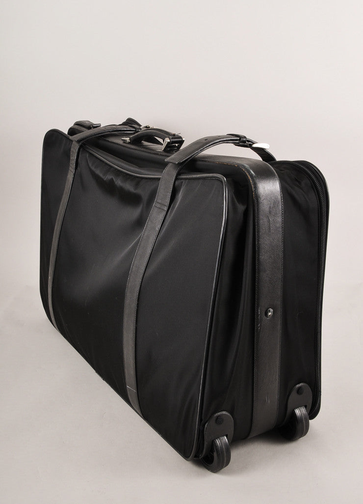 Prada Black Nylon With Leather Trim Buckled Large Rolling Suitcase Sideview