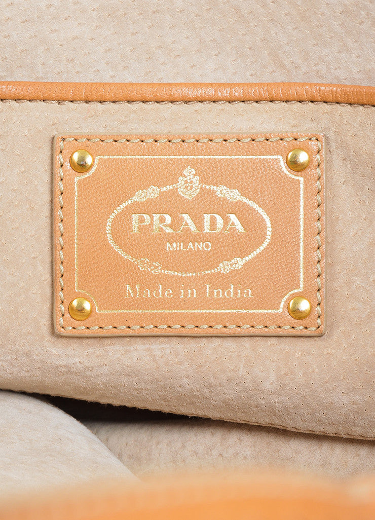 "Tan Prada Leather Woven Top Handle ""Madras"" Crossbody Tote Bag Brand"