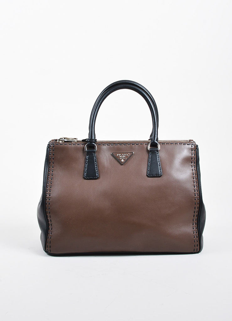 Brown and Black Prada Leather Topstitch City Calf Double Zip Tote Bag Frontview