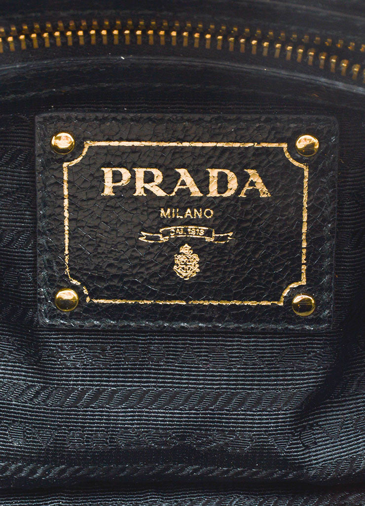 Grey and Black Gold and Silver Toned Prada Cracked Leather Craquele Studded Tote Bag Brand