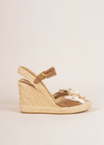 Prada Sport Brown and Tan Suede and Linen Raffia Bow Braided Espadrille Wedges Sideview