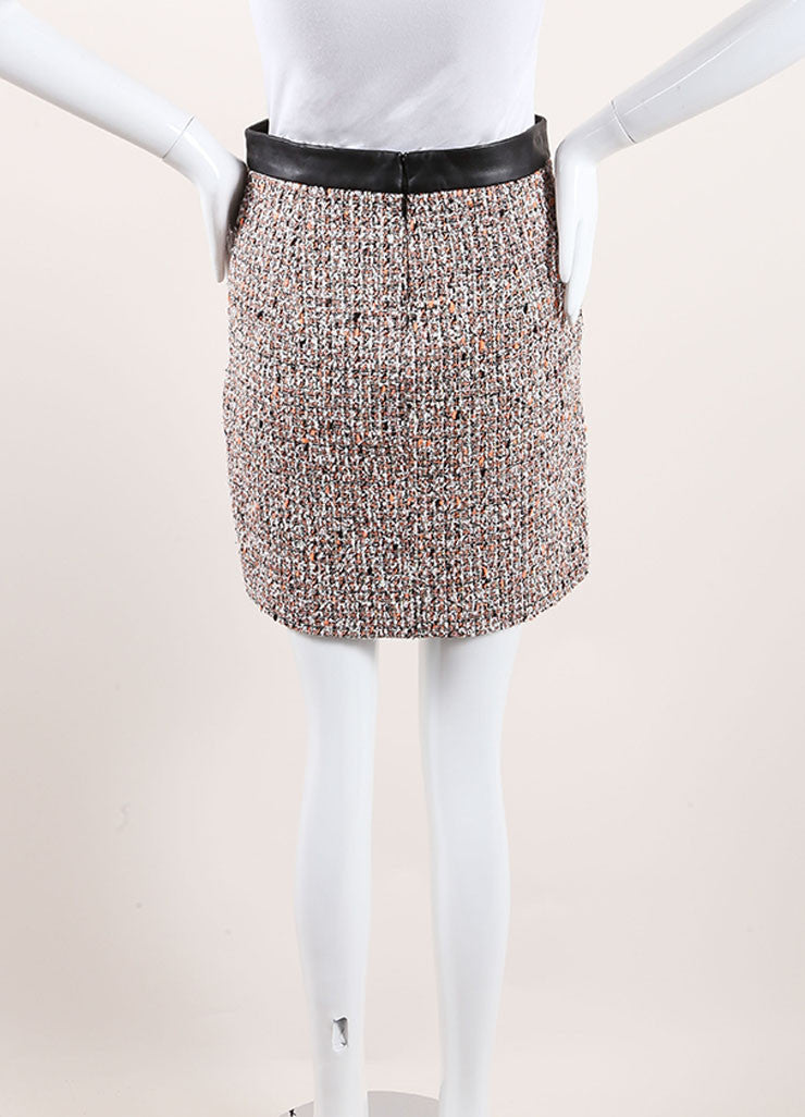 Proenza Schouler Neon Orange, Black, and White Tweed Leather Trim Skirt Backview