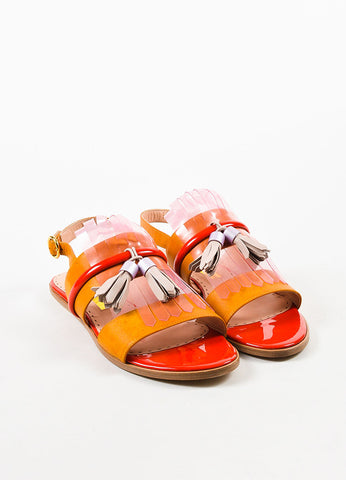 "Rupert Sanderson Tan, Pink, and Red Leather Jelly Fringe ""Erda"" Sandals Frontview"