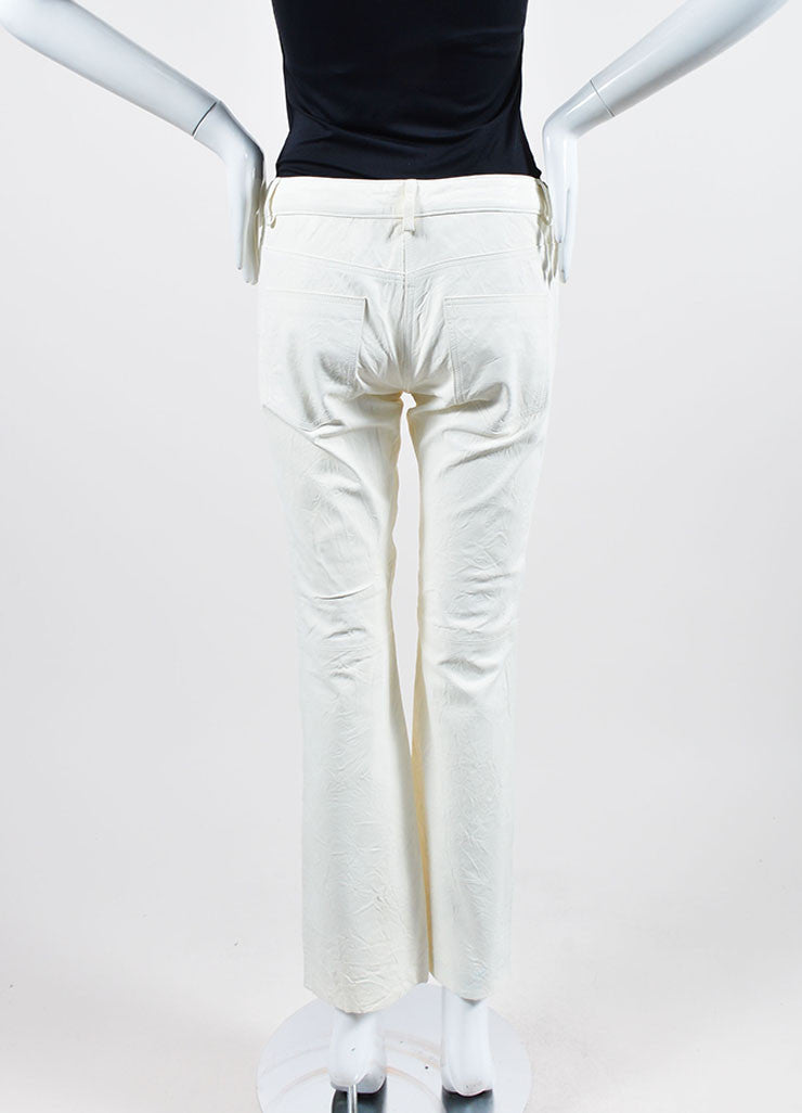 The Row White Lambskin Leather Straight Leg Pants Backview