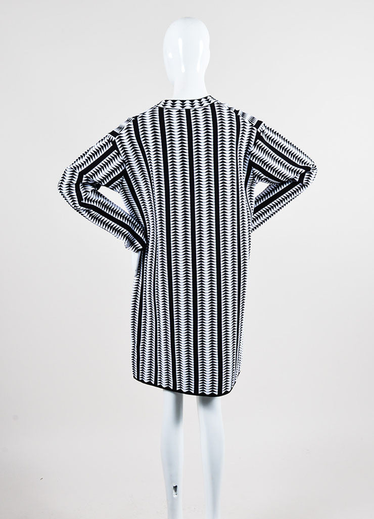 Black and White Alaia Wool Blend Stretch Knit Geometric Print Dress Backview
