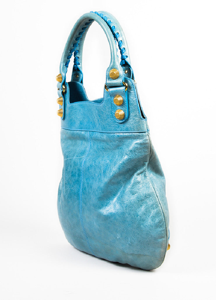 "Balenciaga Light Blue Leather Gold Toned Hardware ""Giant 21 Slim Hobo"" Handbag Sideview"