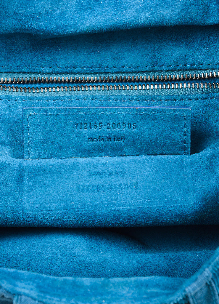"Teal Blue Balenciaga Corduroy Knit Contrast ""Matrix"" Shoulder Hobo Bag Serial"