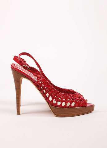 Brian Atwood Red Patent Leather Woven Cut Out Platform Slingback Sandals Sideview
