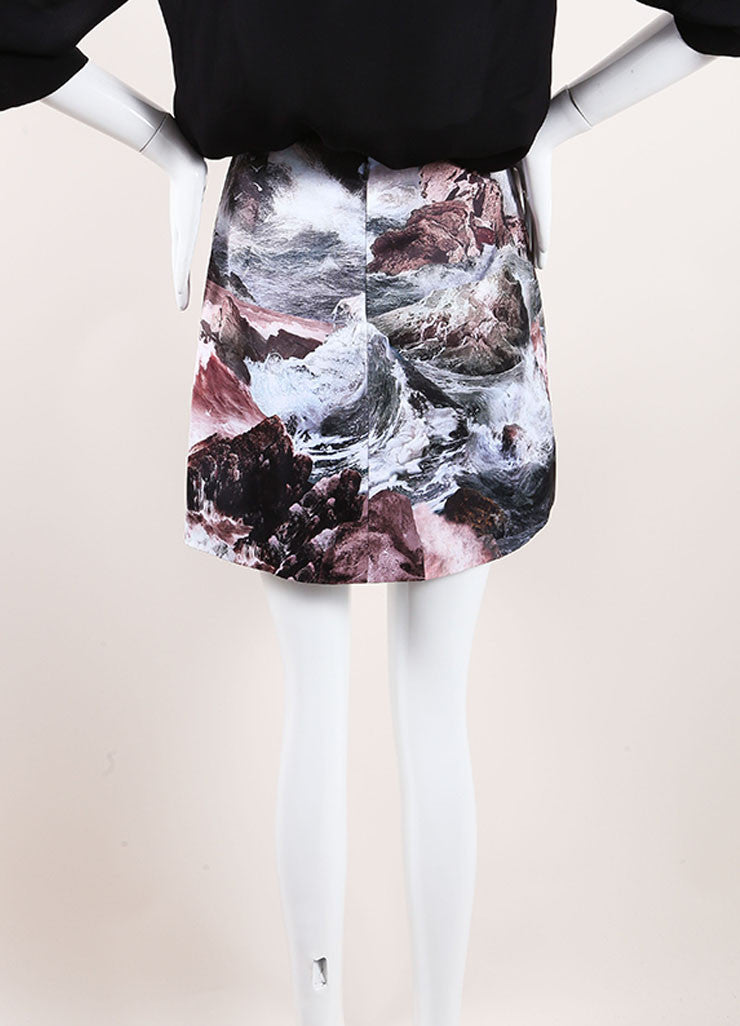 Carven New With Tags Multicolor Abstract Print Pleated Satin A-Line Skirt Backview