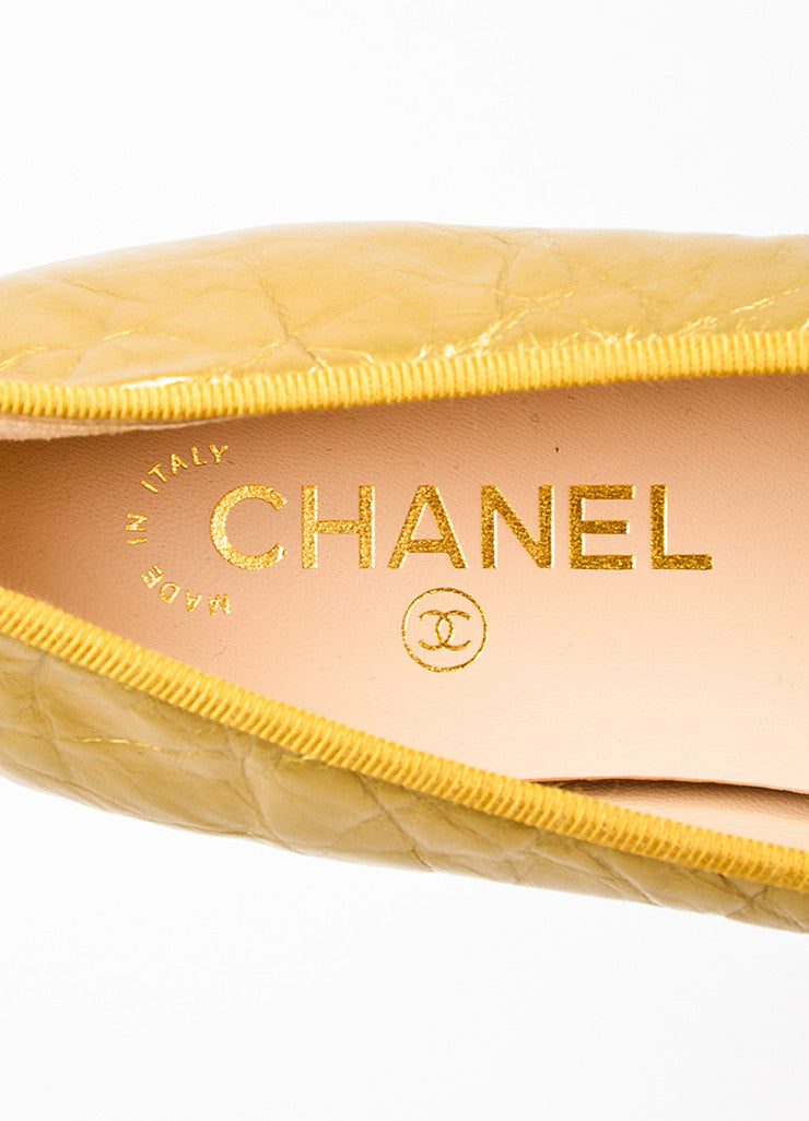 Gold Chanel Wrinkled Leather 'CC' Logo Bow Ballet Flats Brand