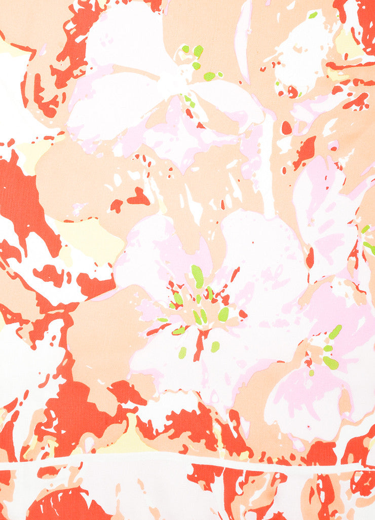 Pink, Coral, and Red Chanel Abstract Floral Small Square Scarf Detail