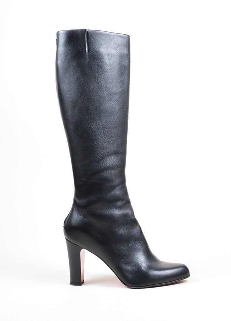 "Christian Louboutin ""Miss Tack Botta"" Black Leather Knee High Heel Boots Sideview"