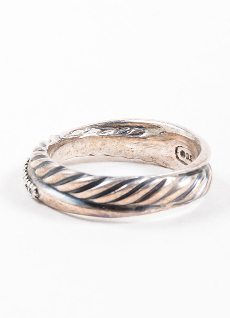 David Yurman Sterling Silver and Pave Diamond Crossover Cable Ring Sideview